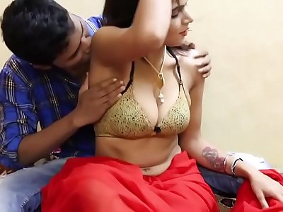 Sexy Indian babe in romantic scene has her boobs squeezed