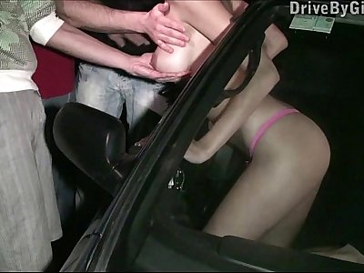 Pretty chick Kitty Jane PUBLIC street dogging car gang bang